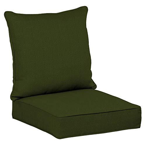 allen + roth 2 Piece Panama Green Deep Seat Patio Chair Cushion, Set of 2