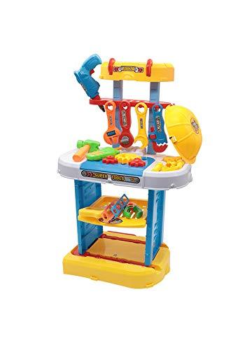 GGYSSY Kinder Spielzeug Workbench Kit, Compact Kinder Werkzeug Bank mit Gehrungssäge und Schraubenschlüssel, Zwei Modi Toy Work Shop für Age 4-6 Jahre alt Geschenke