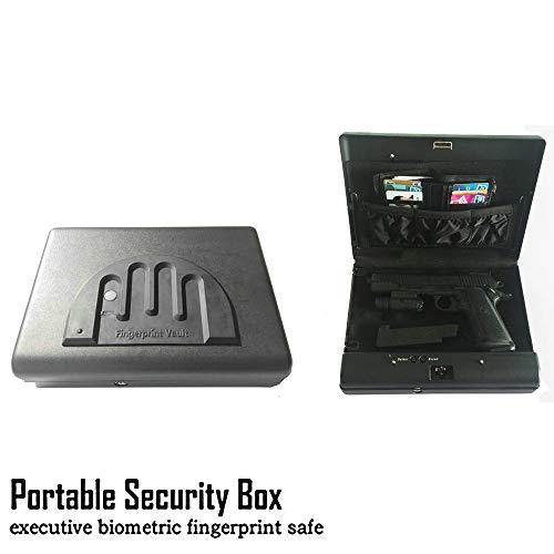 Portable Handgun Coffres-forts dempreintes digitales coffre-fort Bo/îte capteur dempreintes digitales secret pistolet s/écurit/é KeyBox pour Strongbox Bijoux en toute s/écurit/é objets de valeur esp/èces