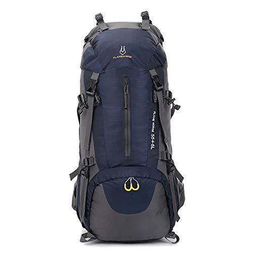 EUATEO-Mochila de montaña 60L Mochila Impermeable Deportes al Aire Libre Mochila con Cubierta Impermeable Senderismo montañismo Turismo de Pesca equitación (Azul Oscuro)