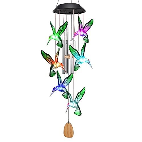 Lámpara de carillón de viento, lámpara de carillón de viento de pájaro con llama solar al aire libre, decoración de luz de jardín duradera, lámpara de carillón de viento con estilo animal