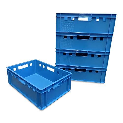 5 Stück E2 Kisten 60x40x20 cm Fleischkiste Lagerkiste Metzgerkiste Eurobox blau