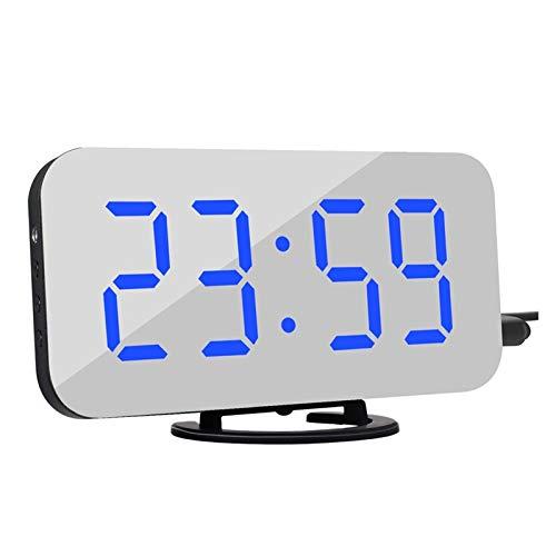 Reloj de Alarma Personalizado Alarma Digital Mirror Snooze Dual USB de Carga del teléfono Reloj electrónico Dormitorio Oficina de la decoración del hogar del Reloj (Colore : Blue)