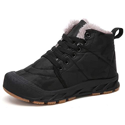 Gaatpot Unisex Niños Botas de Nieve Zapatos de Invierno Moda Botines Calzado Piel sintética Termica Además Otoño Boots Negro 32EU