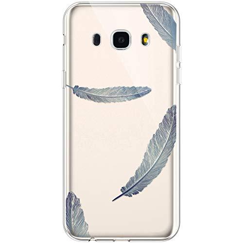 Hpory Funda para Samsung Galaxy J7 2016, Ultra Fina Suave TPU Silicona Transparente Flexible Trasera Bumper Protección Funda Case Cover Cáscara Carcasa para Samsung Galaxy J7 2016 - Plumas Azul