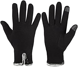 ArRord Womens Screen Touch Gloves Winter Thick Warm Lined Smart Texting (black)