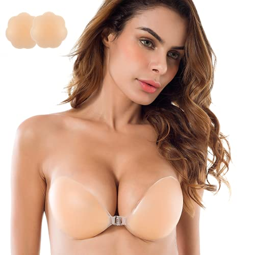 Niidor Adhesive Bra Strapless Sticky Invisible Push up Silicone Bra for Backless Dress with Nipple Covers Nude (DD Cup)