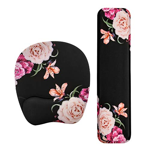 Keyboard Wrist Rest Mouse Pad Wrist Support for Computer Desktop/Laptop/Notebook Memory Foam Keyboard Pad Ergonomic Hand Rest Wrist Cushion for Home Office Gaming Easy Typing-Peony Flower