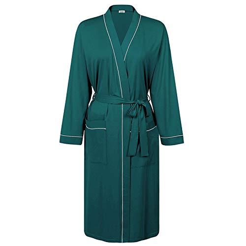 Pyjama Damen Nachthemd Schlafanzug Lange Bademantel Frauen Baumwolle Kimono Robe Leichter Bademantel Mit Taschen Bademantel Frauen Nachtwäsche Sexy Nachthemd M Grün