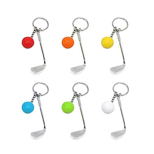 6 Stücke Mini Golf Schlüsselanhänger mit Golfschläger Schlüsselring und Golfball Golfgeschenk Geschenk Schlüs