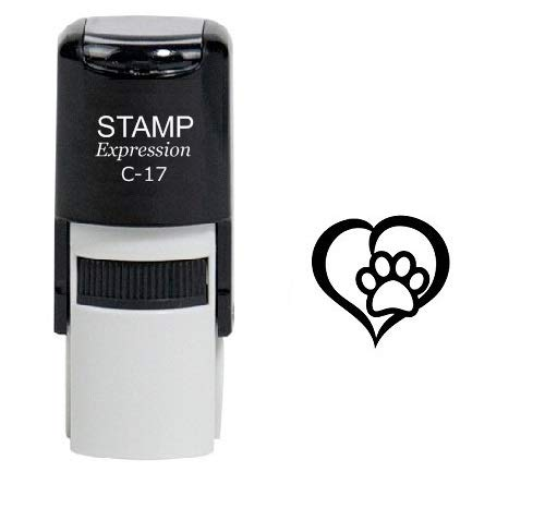 StampExpression - Paw Print Dog Lover Self Inking Rubber Stamp - Black Ink (A-6314)