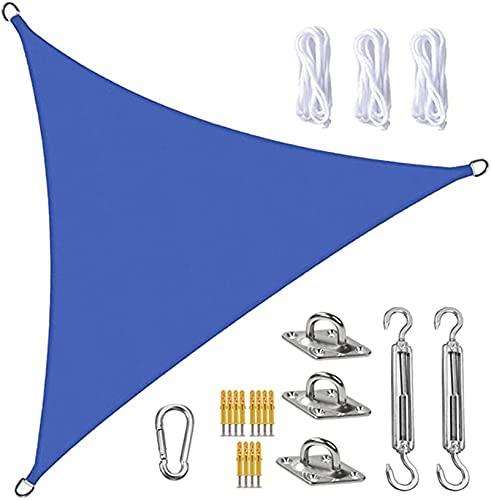 Tela Toldo Sun Shade Sail Canopy Triangle UV Block Impermeable Sun Shade Toldo con Kit De Fijación para Jardín Patio Piscina área De Barbacoa Azul(Size:5X5X7.1m/16X16X23.3ft)