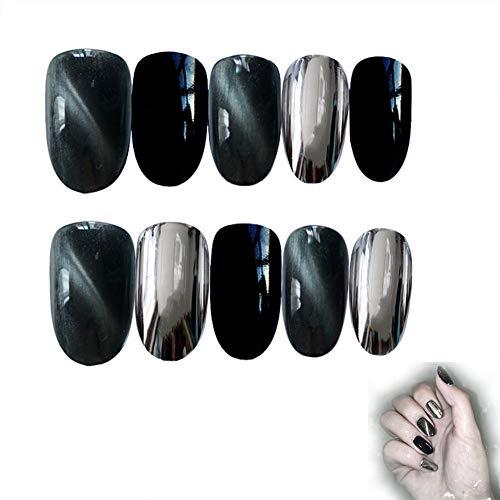 UPANV False Nails Cat Eye 3 Couleurs Saut Faux Ongles Art Full Cover Nails 24Pcs pour Femmes Filles