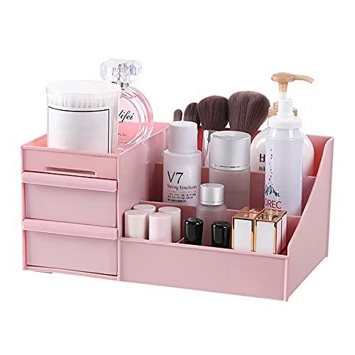 Desktop Makeup Organizer Drawers,BAFFECT® Cosmetics Storage Box Division Office Desk Organiser Desktop Stationery Storage Box Makeup Organiser for Bedroom Bathroom(Pink)
