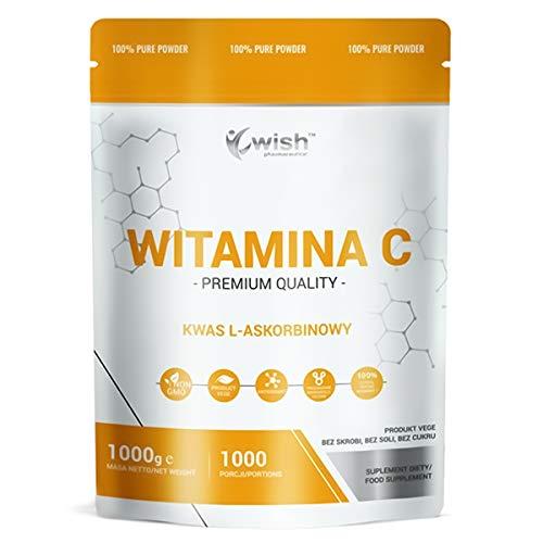 Wish Pharmaceutical Vitamina C 1000mg Paquete de 1 x 1000g Ácido Ascórbico Vegetariano Antioxidante Sin OGM Polvo Puro 1000 Porciones