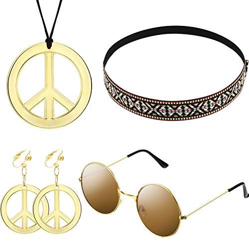 El conjunto de disfraces para mujeres y hombres de Hippie incluye gafas de sol, un collar con el signo de la paz y un pendiente con el signo de la paz, una diadema de Bohemia para hacerte atractiva en