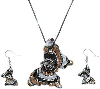 Holibanna Conjunto de Pendientes de Collar de Mariposa Collar Colgante Pendientes de Gota de Cristal de Murano Conjunto de Joyas Vintage para Mujeres
