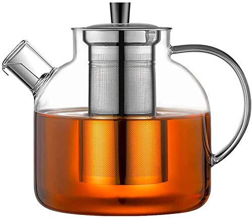 Ehugos Teekanne 1500ml Dickes Glas Teebereiter mit Edelstahl-Sieb Borosilicate Glaskanne
