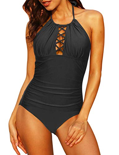 Firpearl Women's Tummy Control Bathing Suit Plunge High Neck Cutout Ruched Swimwears US6 Black