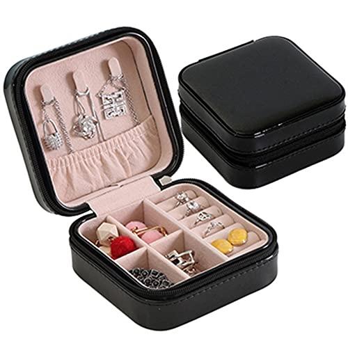Scatole Scatola di immagazzinaggio di gioielli in pelle Portatile Box di imballaggio a doppio strato portatile Regalo di inverno multi-funzione in stile europeo Scatole Portagioie ( Color : Black 02 )