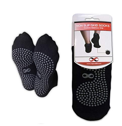 Rutschfeste Socken für Krankenhaus, Reisen, Yoga oder Pilates Studio, Barre, Reha, Trampolin, Kampfsport, Fitness, zu Hause, für Frauen und Männer M / L schwarz - 1 Paar
