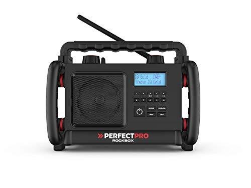 PerfectPro Baustellenradio Rockbox, DAB+ und UKW-Empfang, Bluetooth, AUX-Eingang, Wiederaufladbar, Stoßfest, IP65, RBX3