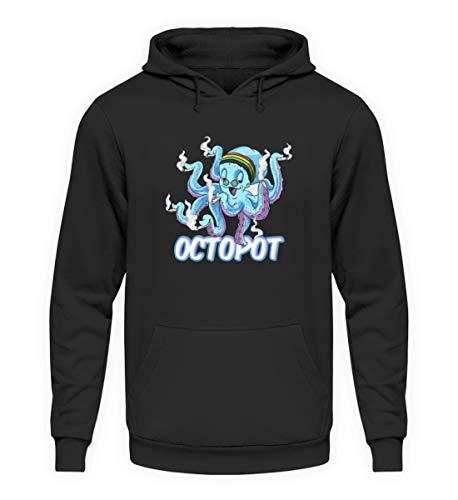 Octopot Hanf Octopus Joint Cannabis Pot Weed Kiffer Pulli THC - Unisex Kapuzenpullover Hoodie -4XL-Jet Schwarz