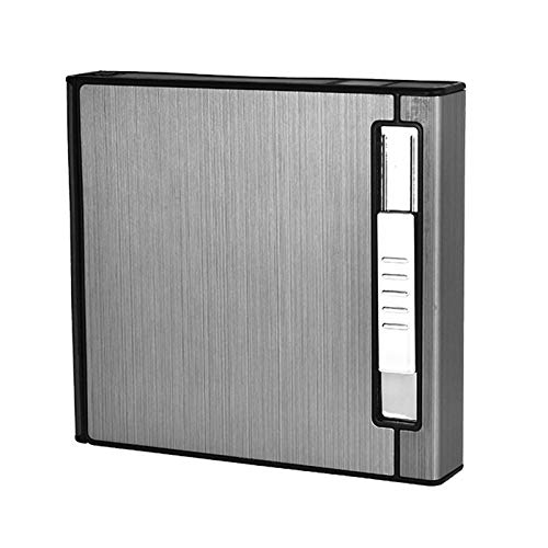 XFYJR Estuche de Cigarrillos Mechero Recargable de Metal Personalizado Encendedor de Cigarrillos Fuerte a Prueba de Viento para Hombres