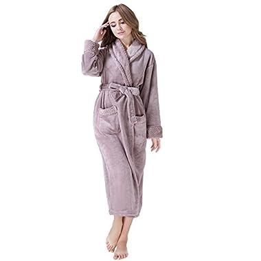 Richie House Women's Plush Soft Warm Fleece Bathrobe RH1591-A-M Pale Mauve Medium