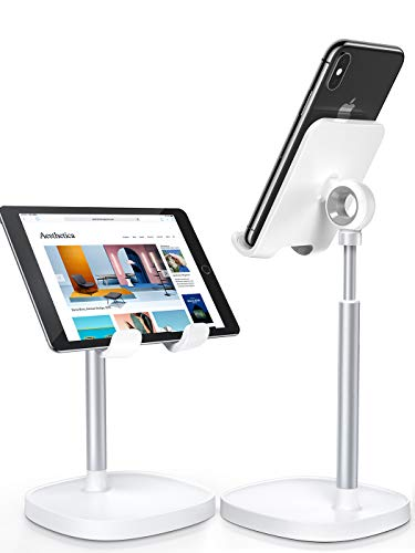 LISEN Height Angle Adjustable Stable Cell Phone Stand for Desk, Sturdy Aluminum Metal iPhone Holder Compatible with (4-10in) iPhone 13 Pro,iPad, Kindel,Samsung and More(White-3X Stable Weighted Base)