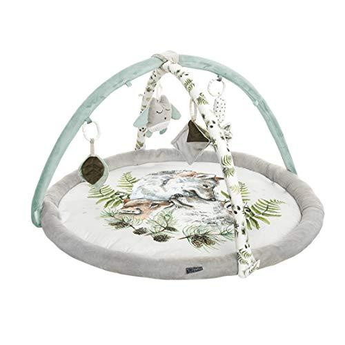 Baby Steps Spielbogen Spieldecke Krabbeldecke - Erlebnisdecke mit 4 Sensorische Spielzeug - 90x60 cm - Spiel & Spaß Teppich Kinder Mat von Geburt An, Made in EU, Wolf Family