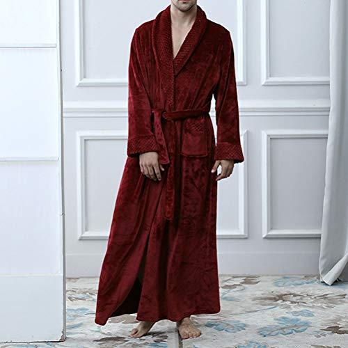 WANGJUN Femenino Otoño Invierno Flannel Camisón espesado Albornoces sólidos Femenino Tamaño Play Ropa de dormir suelta con Sahses Nightwear Lady Bathrobe (Color : Red men, Size : XX-Large)