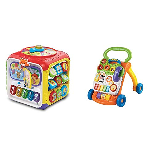 VTech Sort and Discover Activity Cube (Frustration Free Packaging), Great Gift for Kids, Toddlers, Toy for Boys and Girls, Ages 1, 2, 3 & Sit-to-Stand Learning Walker (Frustration Free Packaging)