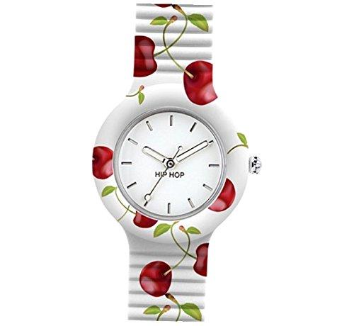Orologio HIP HOP donna FRUIT quadrante bianco e cinturino in silicone bianco cherry, movimento SOLO TEMPO - 3H QUARZO
