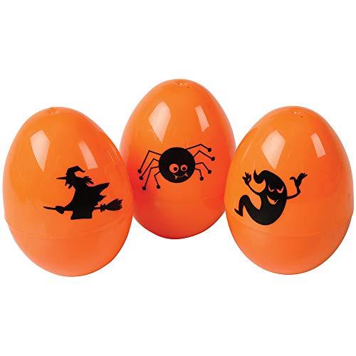 Large Halloween Orange Plastic 3.125' Easter Eggs - 50 Pack