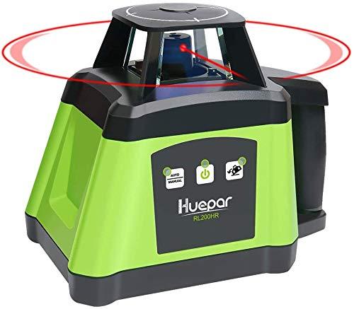 Huepar RL200HR Professional Electronic Self-Leveling Red Rotary Laser Level - 360 Horizontal Laser Beam Interior/Exterior Rotating Laser Tool, Receiver, Protective Glasses, Hard Case Kit