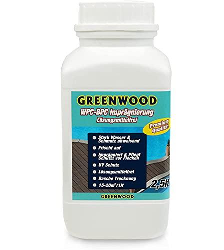 Greenwood WPC & BPC Imprägnierung Transparent - Farbloses Imprägniermittel - Terrassen Pflegemittel mit UV-Schutz - ECO Lösungsmittelfrei - 2,5 Liter