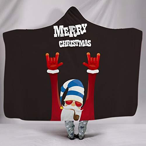 3D trendy koele santa print capuchon deken winter warme volwassenen zachte deken kinderen pluche mantel jas jas cadeau 150 * 200cm