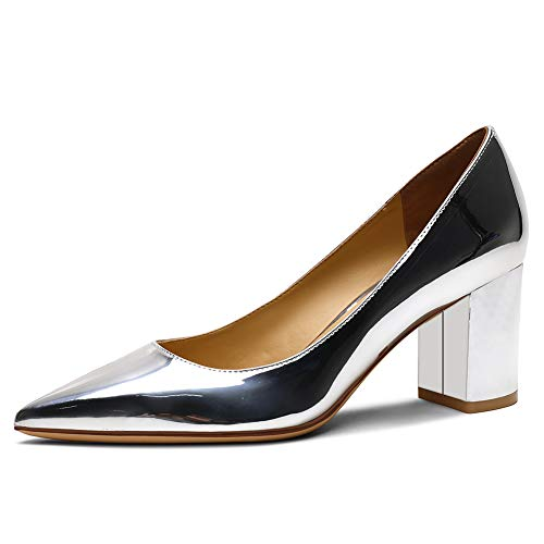 Zoducaran 6.5CM Heel Elegante Mujer Pumps Mid Heels Ponerse Business Zapatos Basic Pointed Toe Boda Dress Zapatos Party Heels Patent Silver Size 38
