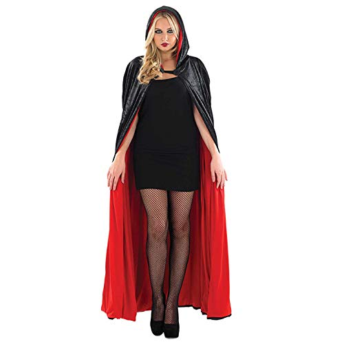 Red Velour Hooded Cape Long Length Adult Womens Halloween Costume