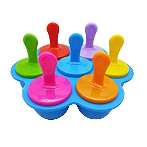 QUUY siliconen popsicle vormen, 7-gaats herbruikbare ijsblokjesvormen met tablets, DIY cakevorm ijsblokjesmaker voor frozen yogurt jelly snacks desserts
