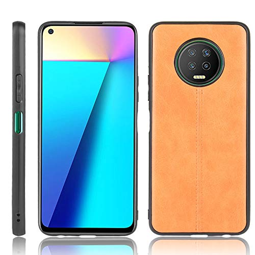 A+Xu Jie For Infinix Note 7 Shockproof Sewing Cow Pattern Skin Texture PC + PU + TPU Case (Color : Orange)