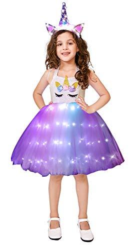Girls Unicorn Princess Costume LED Light Up Birthday Party Outfit Halloween Tutu Dress with Headband Rainbow 7-8 Years