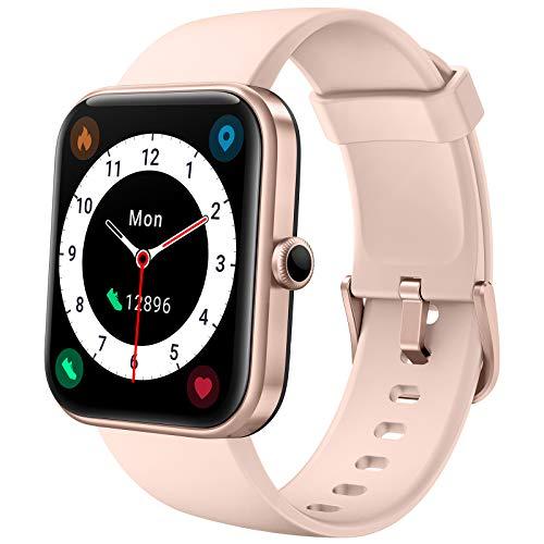 LIFEBEE Smartwatch, Fitness Armbanduhr mit Pulsuhr 1.69 Zoll Touchscreen Fitnessuhr Sportuhr Damen Herren, 5ATM Wasserdicht Pulsoximeter Schrittzähler Uhr Stoppuhr Watch Uhr mit Alexa integriert