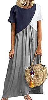 Women's Dress Loose O Neck Short Sleeve Summer Dresses Patchwork Ankle-Length 5XL 2020 brand:TONWIN (Color : Light gray, Size : 5XL)