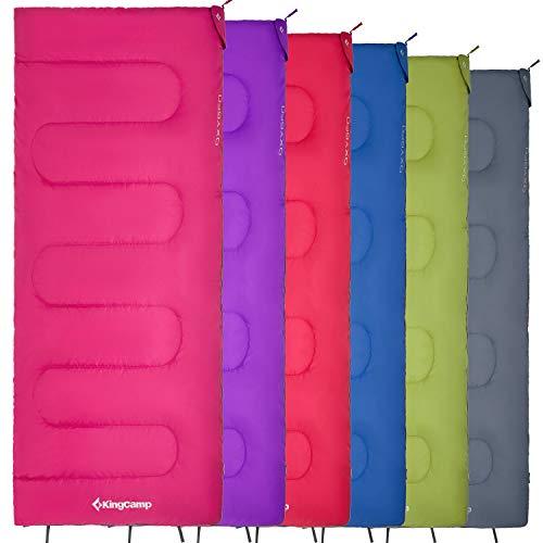 KingCamp Saco de Dormir con sobre de oxígeno para 3 Estaciones Ultraligero de 1 kg Rectangular para Adultos para jóvenes para Acampar al Aire Libre Senderismo en 6 Colores
