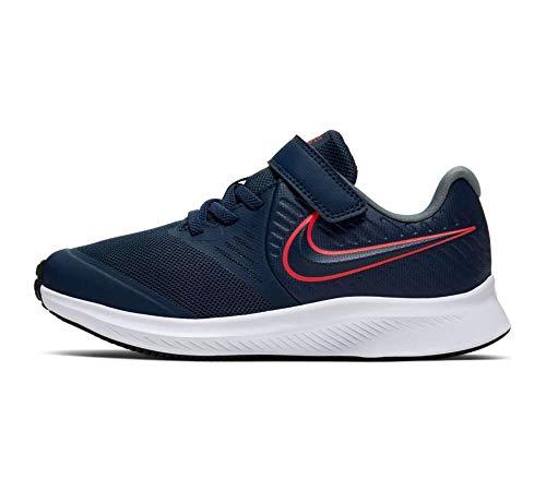 Nike Unisex-Baby Star Runner 2 (PSV) Running Shoe, Midnight Navy/Bright Crimson-Smoke Grey, 30 EU