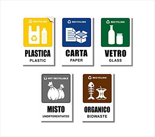 Readyprint 5 Adesivi per Raccolta Differenziata Grandi, in PVC Morbido, con Illustrazioni riciclo - Impermeabili, Lavabili, in Italiano e Inglese, Mis. 10 x 15 cm - 5 pz.