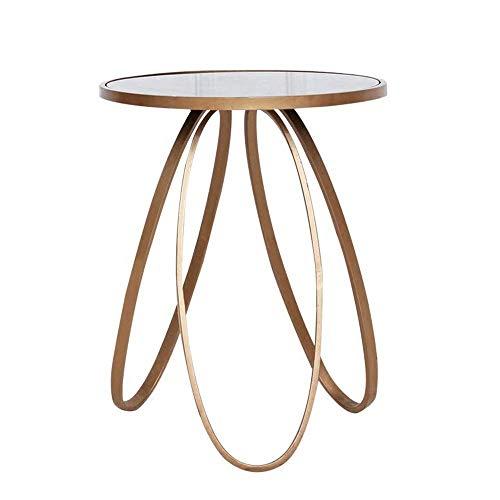 Carl Artbay Home&Selected Furniture/Beistelltisch, gehärtetes Glas Couchtisch, Multifunktions-Metall-Ecke Tisch, Nachttisch, Gold, 45 * 55cm / 18 ''; 22 ''