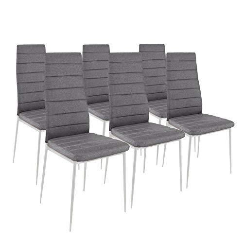 HomeSouth - Pack Seis sillas tapizadas Tela Gris, Silla Color Gris Patas metálicas Blancas, Medidas: 44 cm (Ancho) x 96 cm (Alto) x 42 cm (Fondo)